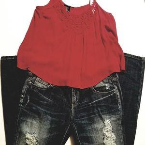 NWT Forever21 Women's Red spaghetti flowy shirt